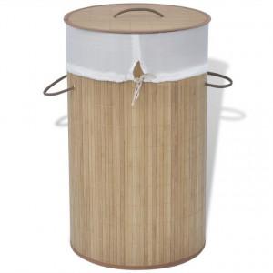 Coș de rufe cilindric din bambus maro