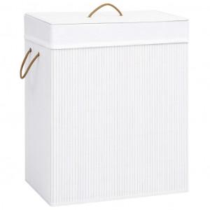 Coș de rufe din bambus, alb, 100 L