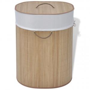 Coș de rufe din bambus, natural, oval