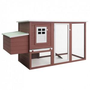 Coteț păsări de exterior, casă găini cu 1 cuibar, maro, lemn