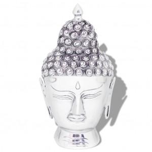 Decorațiune cap Buddha, argintiu, aluminiu
