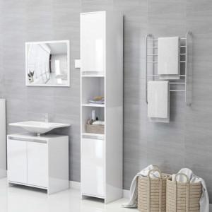 Dulap de baie, alb extralucios, 30 x 30 x 183,5 cm, PAL
