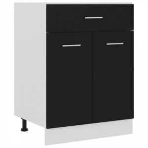 Dulap inferior cu sertar, negru, 60 x 46 x 81,5 cm, PAL