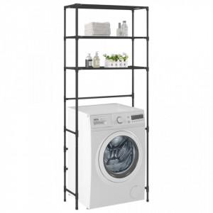 Etajeră peste mașina de spălat cu 3 niveluri negru 69x28x169 cm