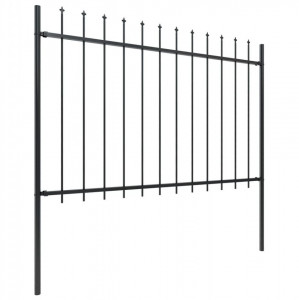 Gard de grădină cu vârf suliță, negru, 15,3 x 1,2 m, oțel