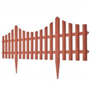 Gard despărțitor de peluză, 17 buc., maro, 10 m