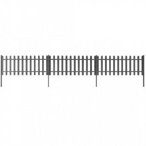 Gard din șipci cu stâlpi, 3 buc., 600 x 60 cm, WPC