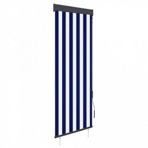 Jaluzea tip rulou de exterior, albastru și alb, 60 x 250 cm