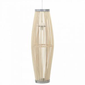 Lampă suspendată, alb, 27x68 cm, răchită, 40 W, oval, E27