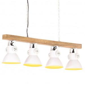 Lampă suspendată industrială, alb, lemn de mango, E27