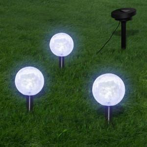 Lămpi solare grădină cu LED, 3 buc., țăruși & panouri solare
