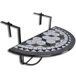 Masă de balcon suspendată, negru și alb, mozaic