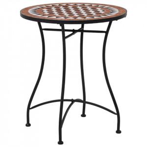 Masă de bistro mozaic, maro, 60 cm, ceramică