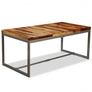 Masă de bucătărie, lemn masiv de sheesham și oțel, 180 cm