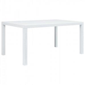 Masă de grădină, alb, 150 x 90 x 72 cm, plastic, aspect ratan