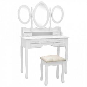 Masă de toaletă cu taburet și oglindă triptic, alb