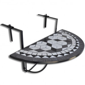 Masă suspendată pliabilă pentru balcon semi-circulară, Negru-Alb