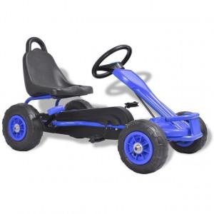 Mașinuță kart cu pedale și roți pneumatice, albastru