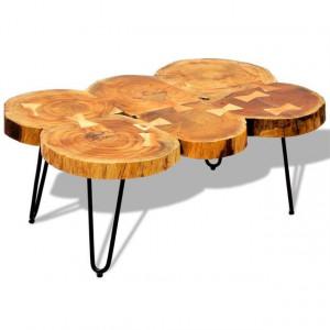 Măsuță de cafea, 35 cm, 6 butuci, lemn masiv de sheesham