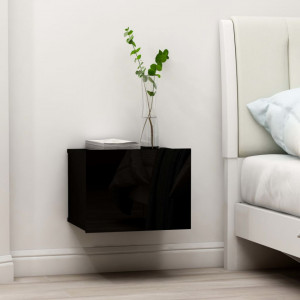 Noptiere, 2 buc., negru extralucios, 40 x 30 x 30 cm, PAL