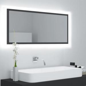 Oglindă de baie cu LED, gri, 100x8,5x37 cm, PAL