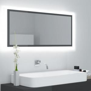 Oglindă de baie cu LED, gri extralucios, 100x8,5x37 cm, PAL