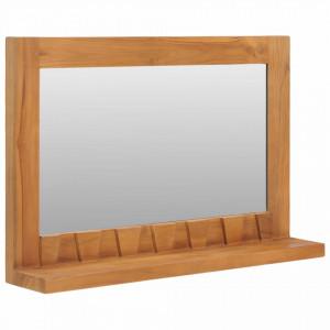 Oglindă de perete cu raft, 60x12x40 cm, lemn masiv de tec