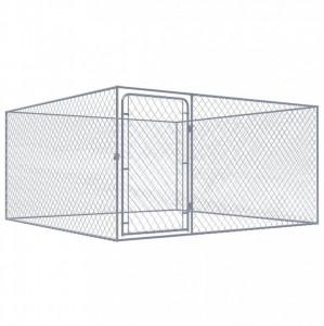 Padoc pentru câini de exterior, 2 x 2 x 1 m, oțel galvanizat