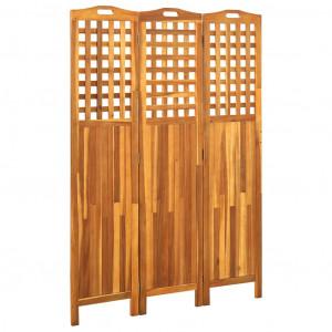 Paravan de cameră cu 3 panouri, 121x2x170 cm, lemn masiv acacia
