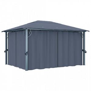 Pavilion cu perdele, antracit, 400 x 300 cm, aluminiu