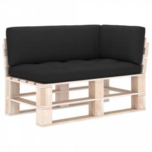 Perne pentru canapea din paleți, 3 buc., negru