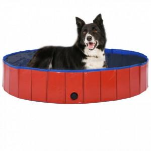 Piscină pentru câini pliabilă, roșu, 160 x 30 cm, PVC