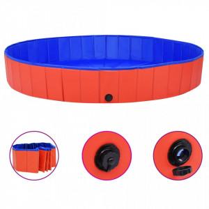 Piscină pentru câini pliabilă, roșu, 200 x 30 cm, PVC
