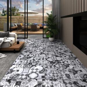 Plăci de pardoseală autoadezive, model gri, 5,02 m², PVC, 2 mm