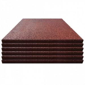 Plăci de protecție la cădere 6 buc. roșu 50x50x3 cm cauciuc