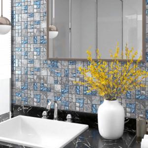Plăci mozaic autoadezive 11 buc. gri&albastru, 30x30 cm, sticlă