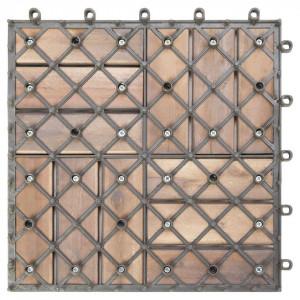 Plăci pardoseală, 10 buc., gri, 30x30 cm, lemn masiv de acacia