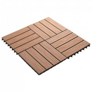 Plăci podea în relief WPC, 11 buc, 30x30 cm, 1 mp, maro deschis