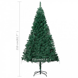 Pom de Crăciun artificial cu ramuri groase, verde, 210 cm, PVC
