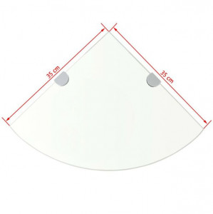 Raft de colț cu suporți de crom din sticlă transparentă 35 x 35 cm