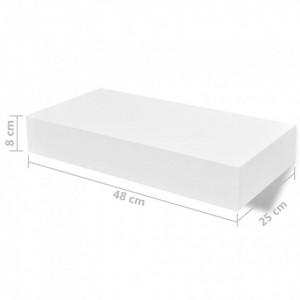 Rafturi de perete suspendate cu sertare, 2 buc., alb, 48 cm