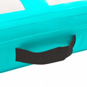 Saltea gimnastică gonflabilă cu pompă verde 200x200x10 cm PVC
