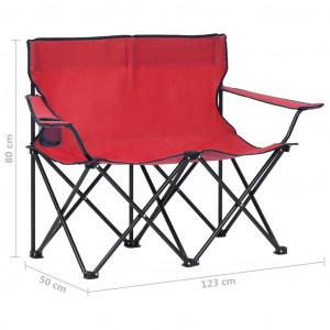 Scaun de camping pliabil, 2 locuri, roșu, oțel și textil