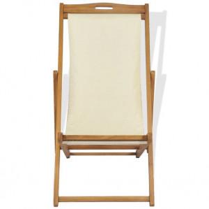 Scaun de exterior, crem, 56 x 105 x 96 cm, lemn de tec