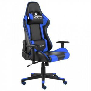 Scaun de jocuri pivotant, albastru, PVC