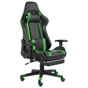 Scaun de jocuri pivotant cu suport de picioare, verde, PVC