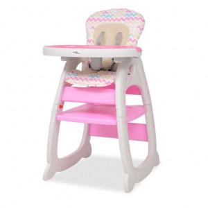 Scaun înalt convertibil 3-în-1 cu masă, roz