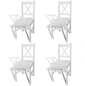 Scaune de bucătărie, 4 buc., alb, lemn de pin
