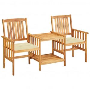 Scaune de grădină cu masă de ceai și perne lemn masiv de acacia
