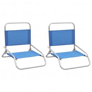 Scaune de plajă pliante, 2 buc., albastru, material textil